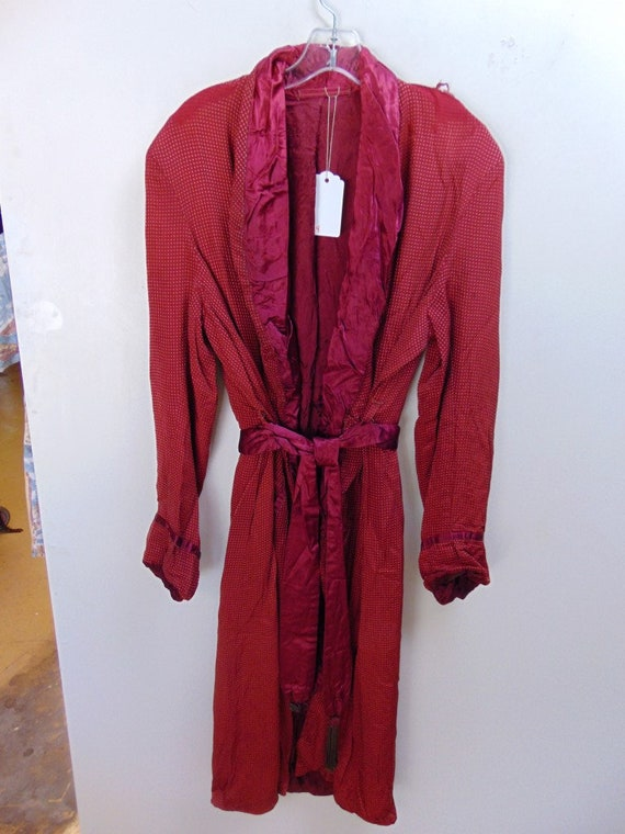 r4 1940-50's Rayon Red full Large vintage Robe