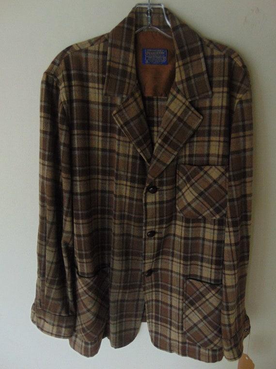 lsw104 1960's Pendleton Brown Plaid Wool Vintage s