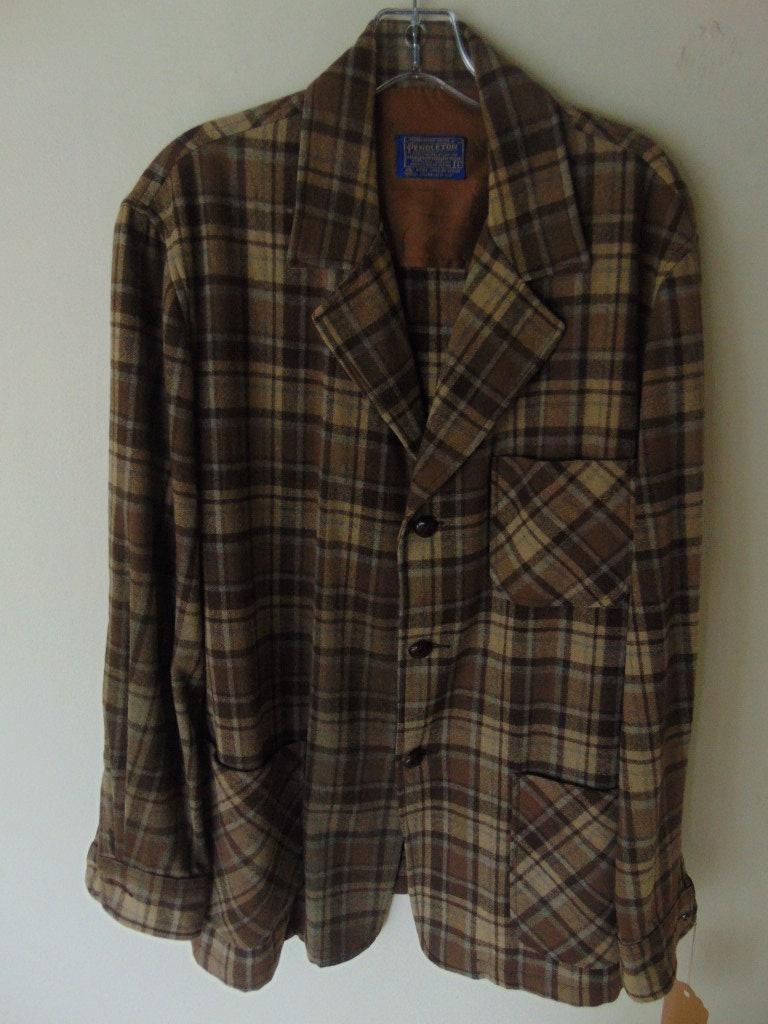 1960s – 70s Men's Ties | Skinny Ties, Slim Ties Lsw104 1960s Pendleton Brown Plaid Wool Vintage Shirt Jacket L $0.00 AT vintagedancer.com