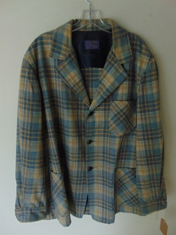 lsw107 1960's Pendleton Cream Plaid Wool Vintage s