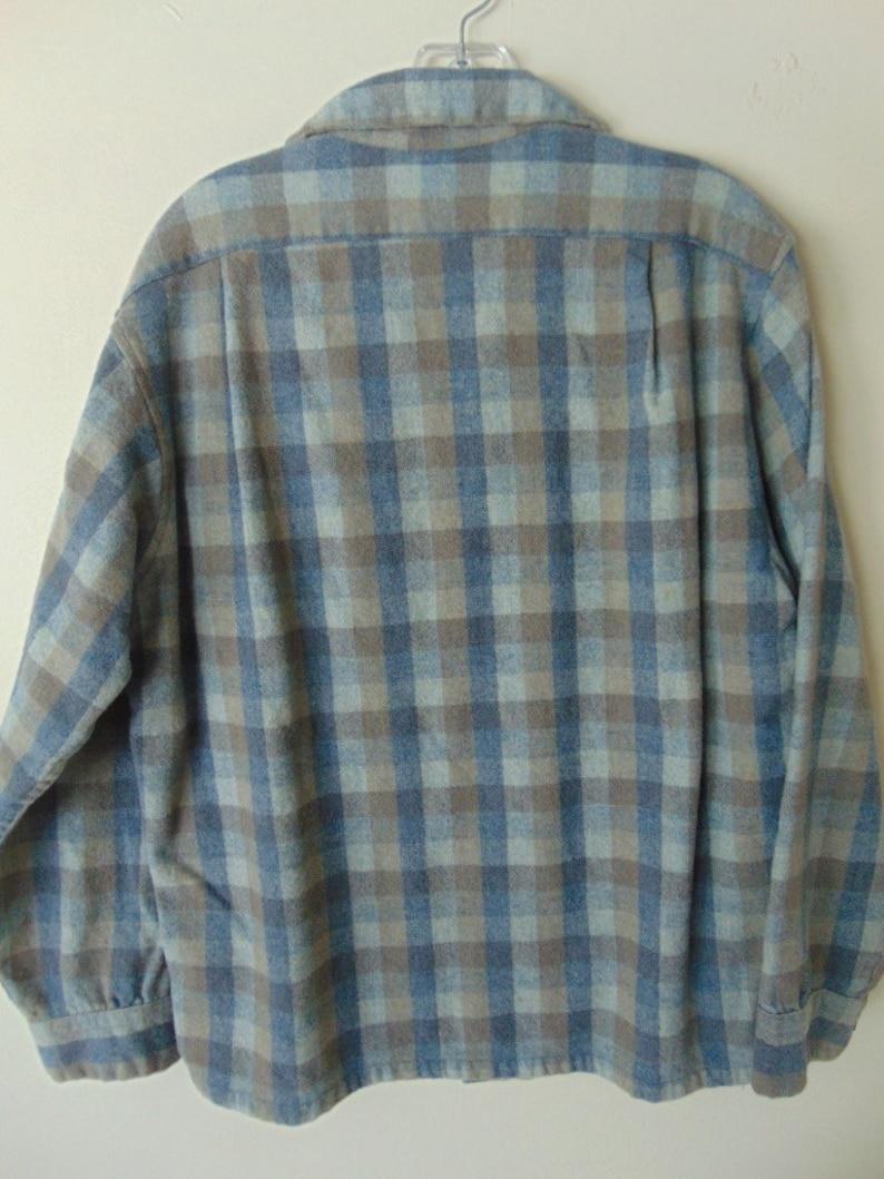 label missing Flannel Vintage shirt L lsw16 1960/'s BlueGray Pendleton