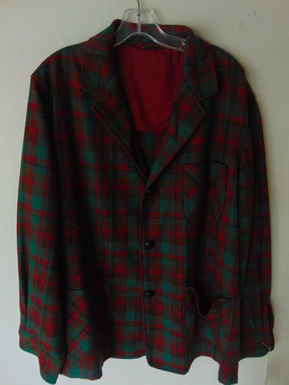 lsw108 1960's Red/Green Paid Wool Vintage shirt ja