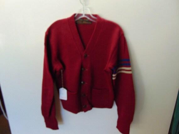 sSMw59 1940-50's Vintage Heavy Wool School Sweater
