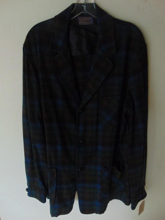 lsw105 1960's Pendleton Blue Plaid Wool Vintage sh
