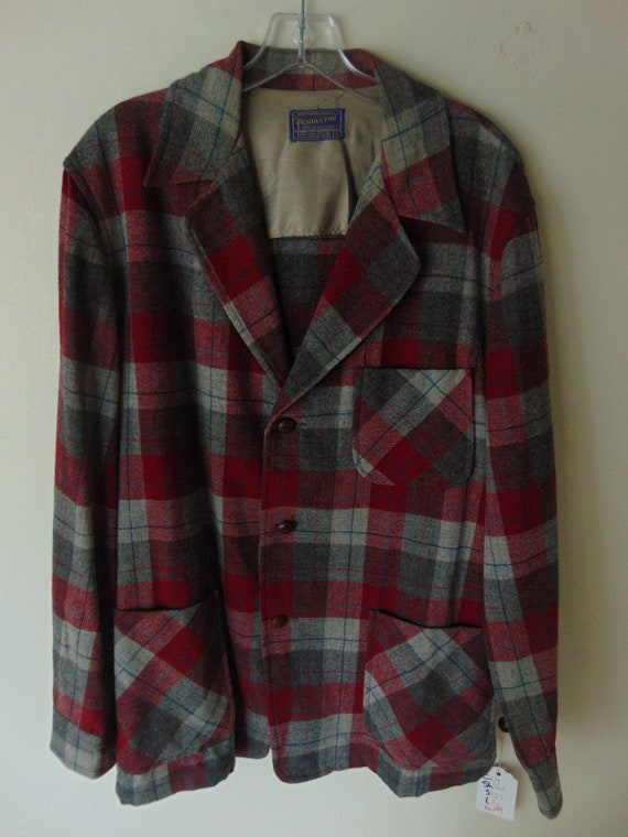 lsw100 1960's Pendleton Red/Silver Plaid Wool Vint