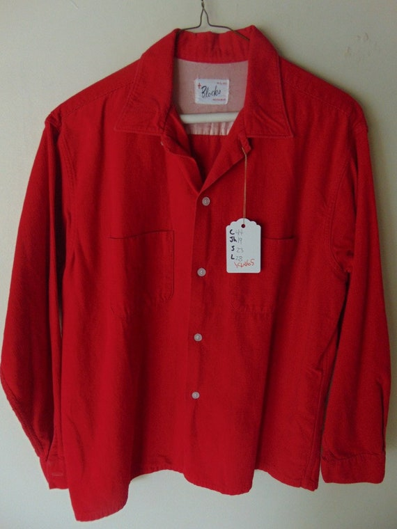 lsw65 1950-60's Blocks Red Horizontal Corduroy Vin