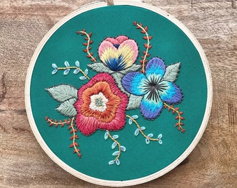 Embroidered Hoop Art - Hand Embroidered Floral Hoop - Tropical Embroidery Hoop - Embroidered Wall Art - Tropical Floral Embroidery Hoop