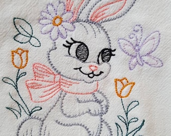 EASTER PLAYFUL BUNNY PATTERN MACHINE EMBROIDERED FLOUR SACK DISH TOWEL
