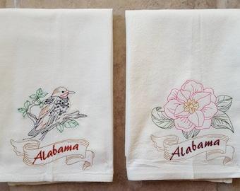 Alabama State Bird Yellowhammer & State Flower Camellia Flour Sack Towels