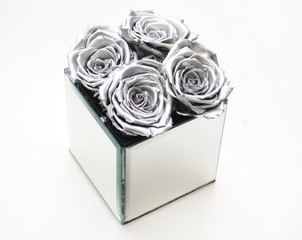 Four Preserved Metallic Silver Rose Heads with mirrored cube