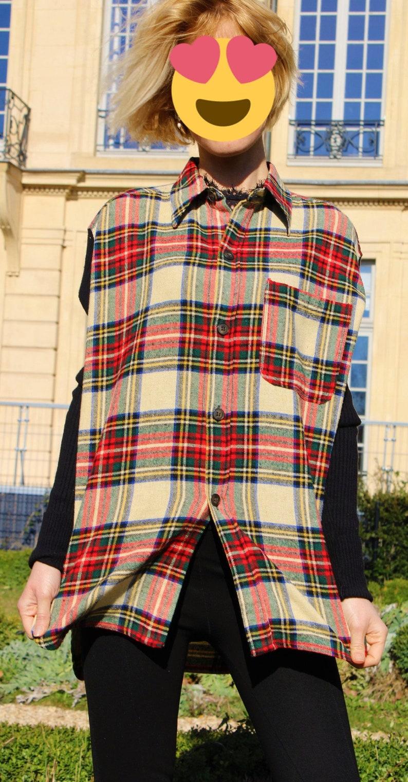 Jean Paul Gaultier Vintage 1997 90s Punk Anarchy Fight Racism Tartan Tweed Shirt Chemise Top