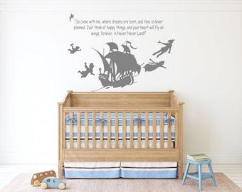 Tinkerbel Peter Pan Kid Bedroom Wall Sticker Decal DIY UK SH198