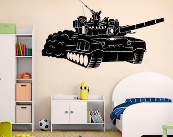 Tank Tanker Machine Gun Barrel Soldier Wall Decal Window Sticker Handmade 4238