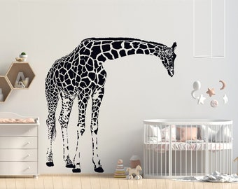 Tiukiu Name Wall Decal Giraffe Wall Decal Giraffe Baby Boy Room Decor Safari Wall Decal Nursery Wall Decal Large Size