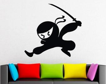 Crouching Ninja with Sword Vinyl Decal