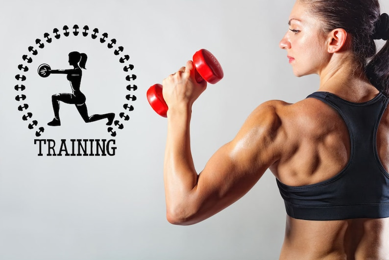 Health,Muscle,Kettlebell Dumbbell,Wall decor,Wall Decal,Window Sticker,Vinyl sticker Handmade t721 Gym Fitness club wall,Sports,Fitness