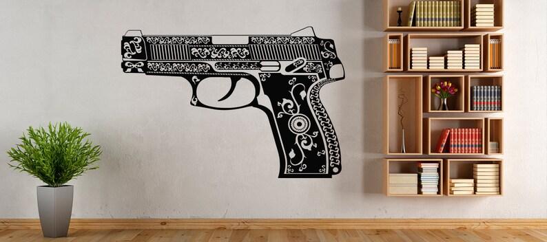 Weapon Gun Bullet Shot  Bandit  Wall Decal Window Sticker Design Handmade 4720