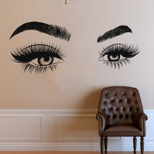 Eyelashes Wall Decal Window Sticker Beauty Salon Woman Face  Lashes Eyebrows Brows t4