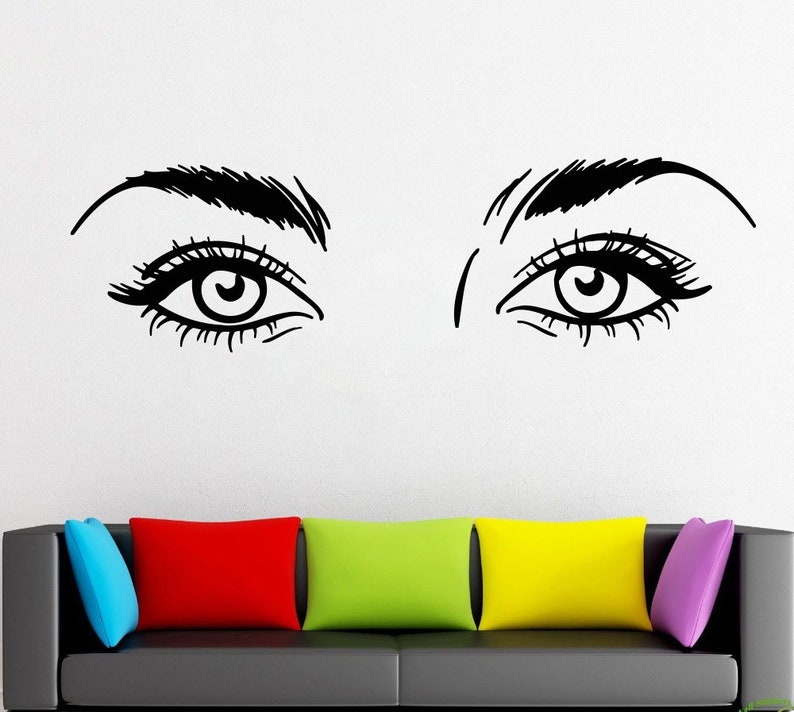 Eyelash decals Wall Decal Window Sticker Beauty Salon Woman Face Eyelashes Lashes Eyebrows Brows t871
