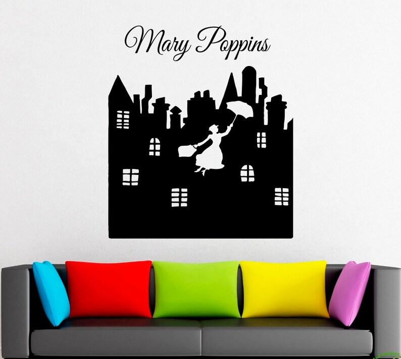 Mary Poppins Umbrella Nanny Wall Decal Window Sticker Design Handmade 4290