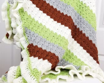 Green and chocolate stripes crochet blanket for babies, toddlers, and small children