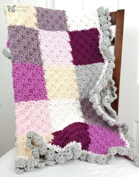Himbeere Patchwork Häkeln Baby Decke Mit Rosa Lila Weiß Etsy