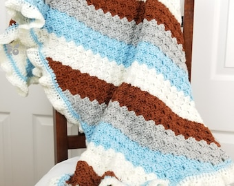 Blue and chocolate stripes crochet blanket for babies, toddlers, and small children