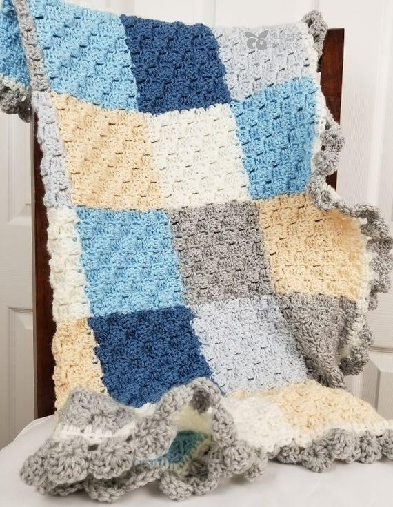 Am Meer Patchwork Häkeln Baby Decke Mit Blau Weiß Creme Und Etsy