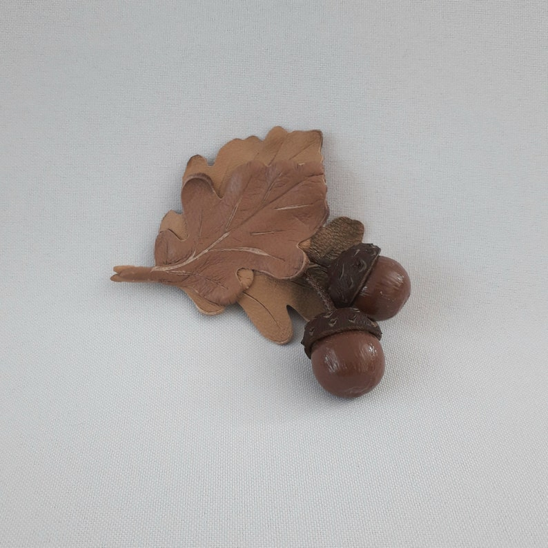 for her Oak leaf and acorn wedding boutonniere for men Leather jewelry for him
