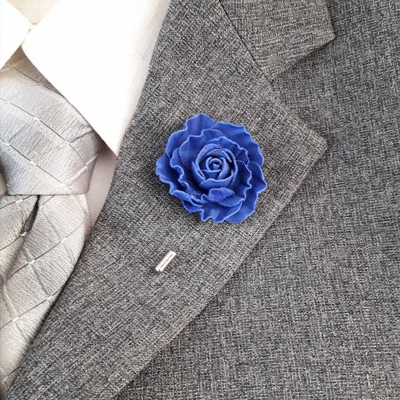 Dark blue royal rose Men/'s boutonniere leather