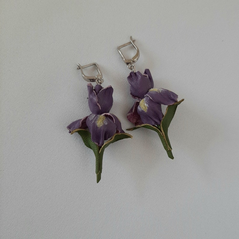 Genuine leather lilac iris earrings 3rd anniversary gift for wife
