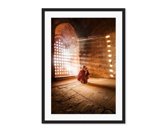 Sun Rays Burma Bagan Buddhist Monk Large Vertical Photography Meditation Warm Myanmar Canvas Print Inspirational Wall Art Gold