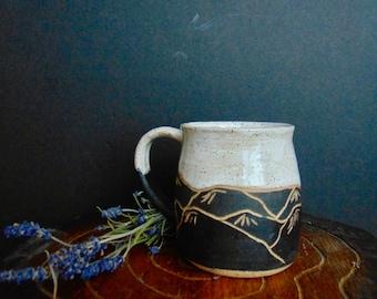 PREORDER Ceramic Mountain Mug, Hand Carved Mountain Mug, Black and White Mountain Coffee Cup, Unique Pottery Mug, 14-16 oz Mug