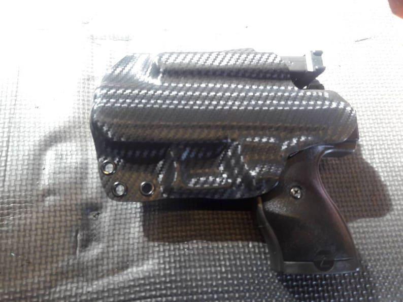 Hi=Point 9mm/380 with piggy back mag holder Custom Kydex Holster Black  Carbon Fiber plus 11 more colors to choose from