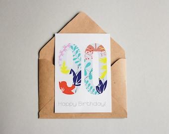 PRINTABLE Card Happy 90th Birthday Jungle Print Downloadable Printable Art Greeting