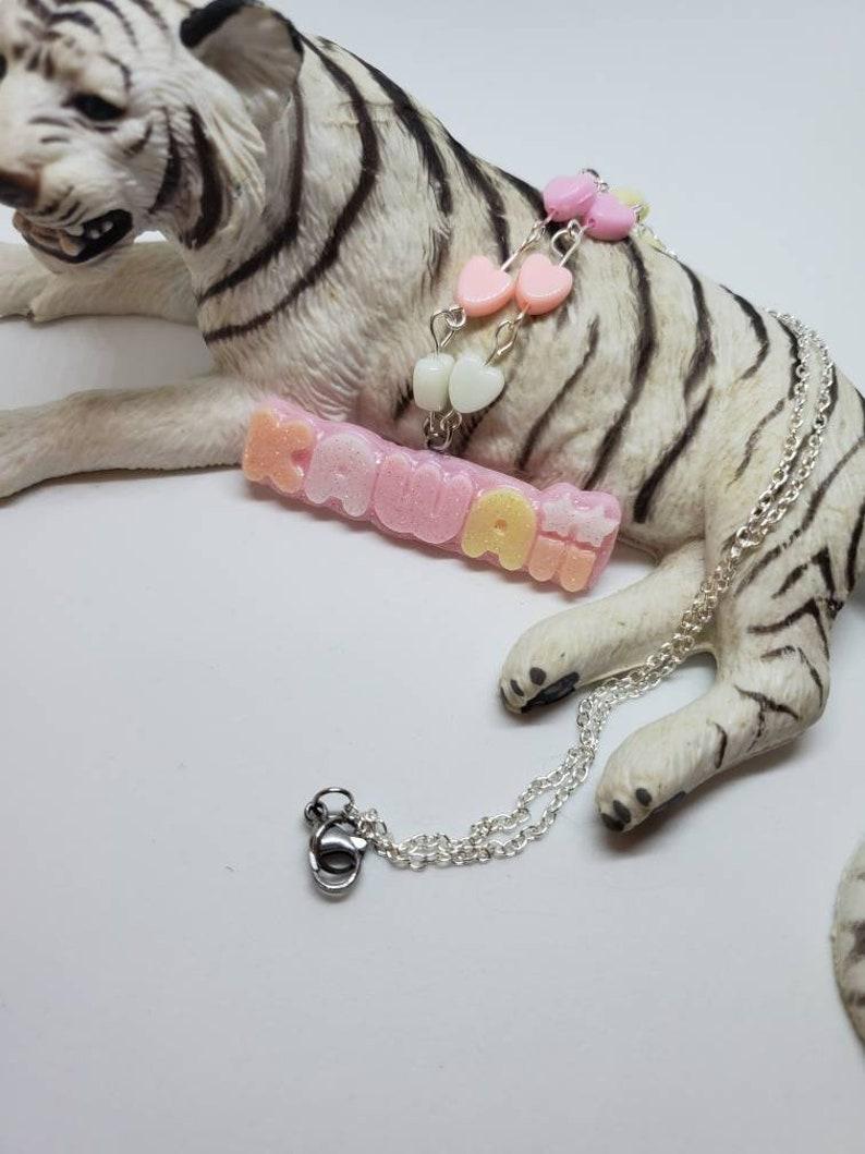 KAWAII word letters rainbow candy hearts cute charm peach necklace fairy kei Pastel cute sweet lolita cosplay pendant Jewelry *Free Ship US