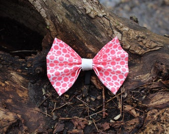 Coral pokadot bow tie,dog collar accessory, slide on collar accessory, dog bows, pet bow tie