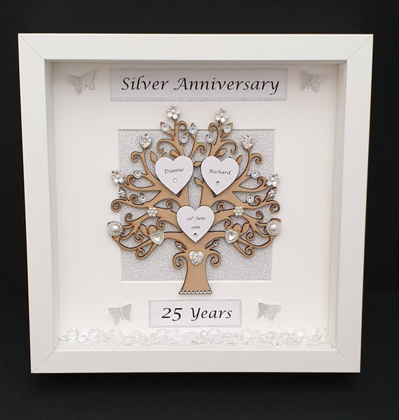 25 Wedding Anniversary Gift.Silver Wedding Anniversary Frame Keepsake Gift Anniversary Gift Handmade Unique Gift Special Anniversary Box Frame 25 Years