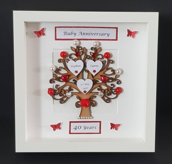 EMBELLISHMENT  WED-R 3D RUBY WEDDING ANNIVERSARY CARD TOPPER