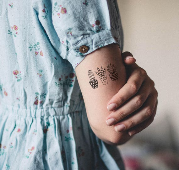 Tatuaje Cactus cactus temporary tattoo / 3 cactus tattoo / temporary tattoo / | etsy
