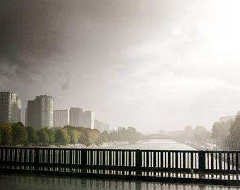 """Summer storm from the """"Pont de Passy"""" (Passy bridge) in Paris with the Seine in the background, Paris print, France, wall art, home decor"""