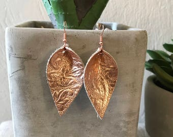 Rose Gold Petal Leather Earrings