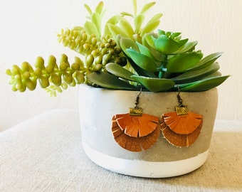 Fan Favorite:  Layered Leather Feinge Fan Earrings.  Orangy Light Brown
