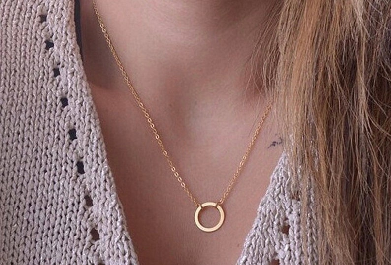 simple gifts Dainty Circle Necklace Gold Karma Necklace Dainty Tiny Delicate Circle Necklace Simple Gold Necklace Gift Idea for her