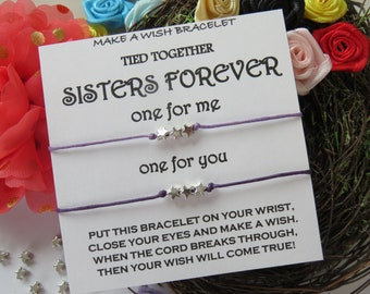 PERSONALIZE your words WISH bracelets - keepsake message card gift, sweet words best friends, matchy, stars, dainty star wishes, match, cute