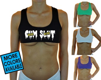 ca71a9cc87d9c CUM SLUT Cut Off Tank Top Crop Top Shirt Womens Sexy Hot Belly Stomach  Under Boob Tee Swinger Lingerie Party Gift BDSM Mistress Whore Girl
