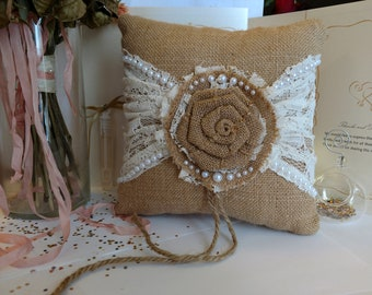 Burlap and Lace Wedding Ring Bearer Pillow