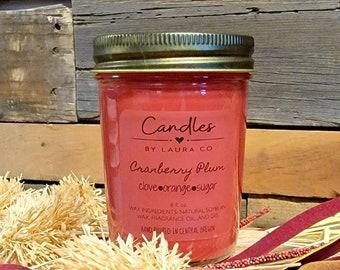 8 oz Cranberry Plum Soy Jar Candle