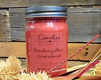 12 oz Cranberry Plum Soy Jar Candle