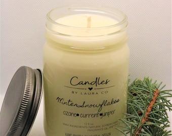 12 oz Winter Snowflake Soy Jar Candle